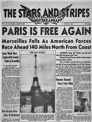 Headline 'Paris Is Free' in Stars and Stripes