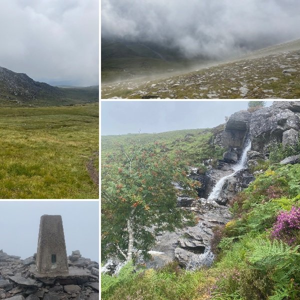 Montage of photos from the mountain in Scotland which Woolly Mammoth has climbed, thus 'bagging another Munro'.