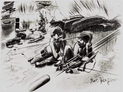 Soldiers under fire, from a cartoon in Yank, the Army Weekly, 1945