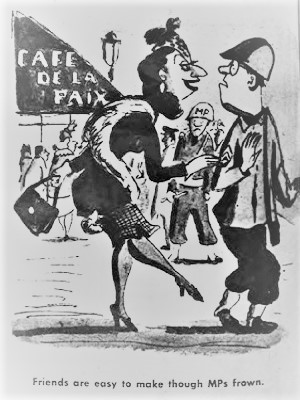 Friends are easy to make, thought MPs frown. A cartoon from Yank, the Army Weekly, showing an overfriendly Frenchwoman and a wary GI.
