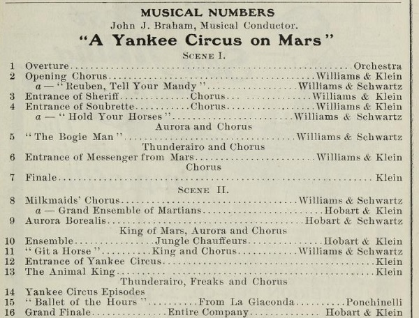 Musical Numbers in A Yankee Circus
