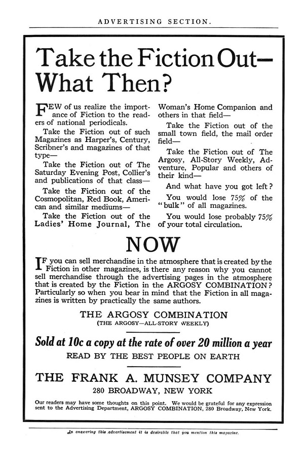 Advertising page from a 1919 publication