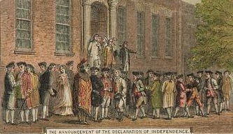The announcement of the Declaration of Independence in Philadelphia, 1776.