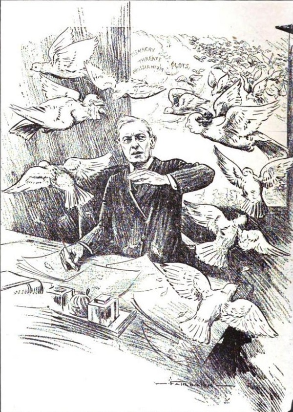 A 1917 anti-peace cartoon. It shows US president Woodrow Wilson being attacked by a flock of doves. Some of these doves have human heads that resemble people the cartoonist doesn't like, such as William Jennings Bryan and Kaiser Wilhelm.