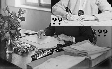 People in an office with questions