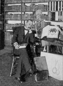 The author of Etidorhpa, with a skeleton.