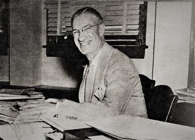 Judge Finnegan, who has married 39 young women in proxy marriages in Kansas during World War II. Photo from Yank, the Army Weekly.