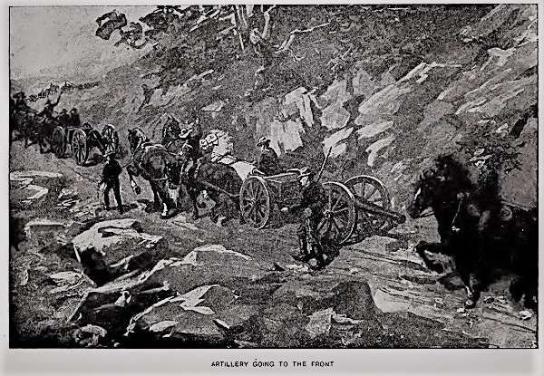 An archival sketch of Civil War artillery on the march.
