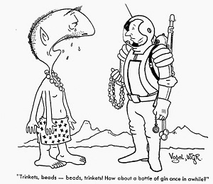 An astronaut offering trinkets to an offworld 'native'.
