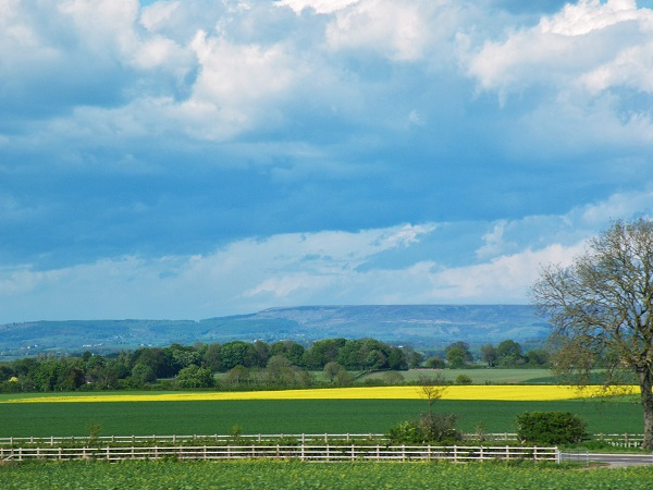 Blue sky, green hill, and a wide horizon, by bobstafford