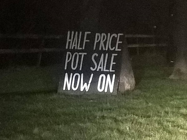 A Sign for a Pot Sale by Freewayriding