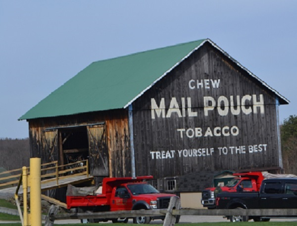 Chew Mail Pouch Tobacco, on a barn.