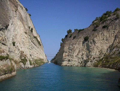 The Corinth Canal in Greece.