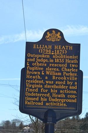 Marker for Elijah Heath, who ran a station on the Underground Railroad in Brookville, Pennsylvania