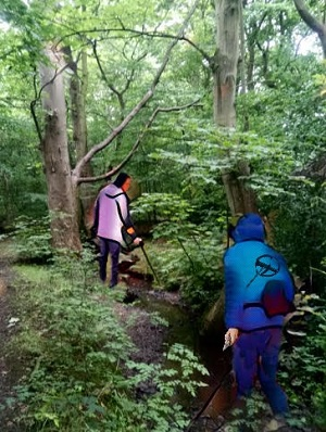 Searching the woods with a metal detector.