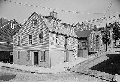 Houses on a steep street.
