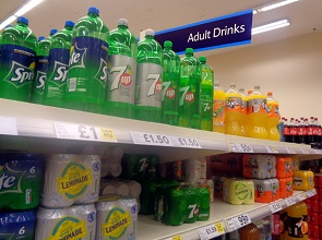 Fizzy drinks on a supermarket shelf