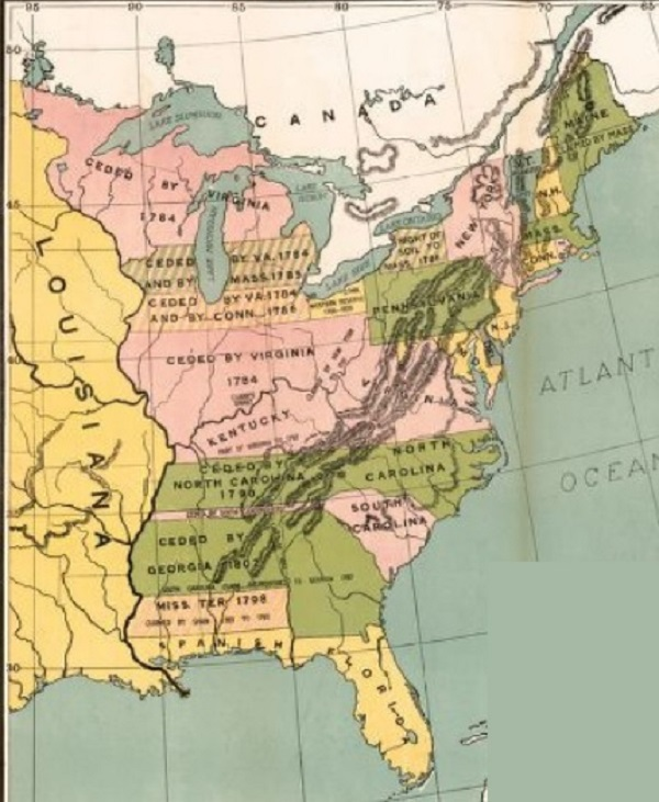 Land Claims of the Original Thirteen States, courtesy of Library of Congress.
