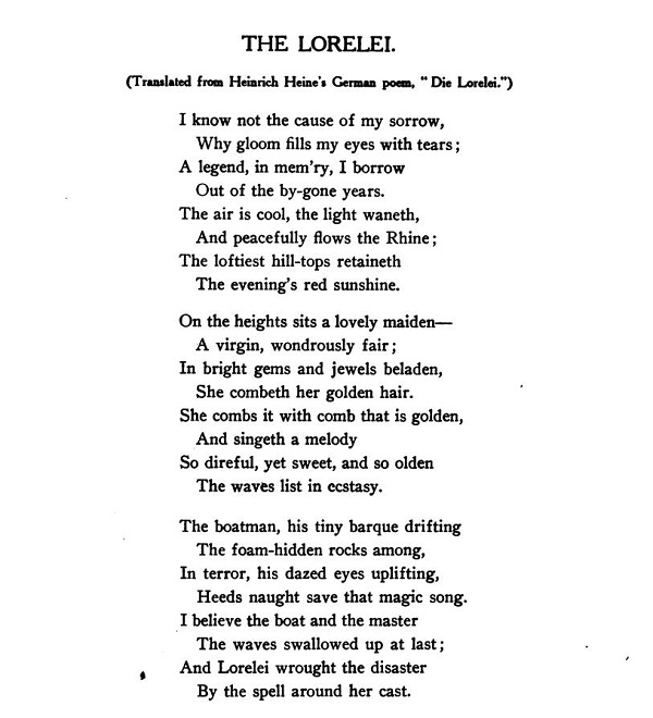 An English translation of the Lorelei by Heine