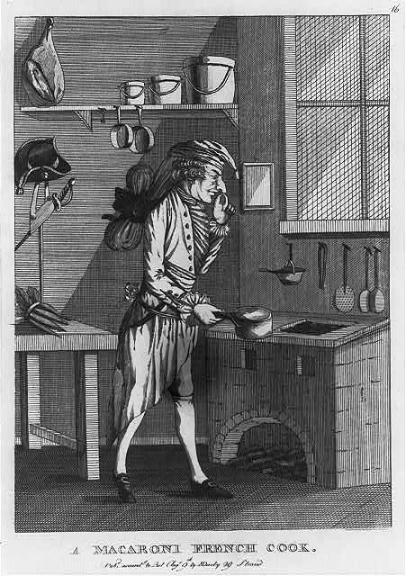 A macaroni French cook from the 1770s