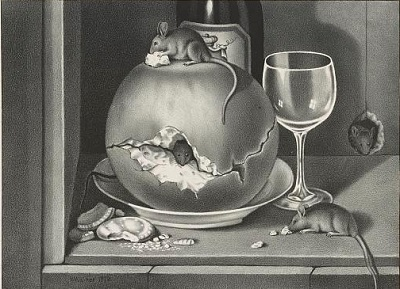 Mice having a wine and cheese party.