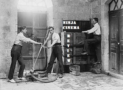 Ninja Film Review logo, which features old-timey film guys setting up for a film.