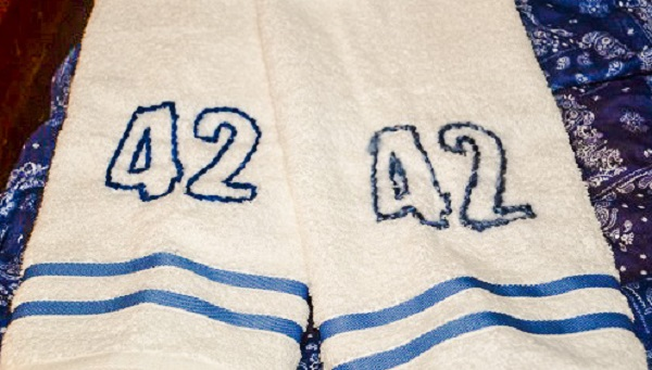 A pair of towels with the number 42.