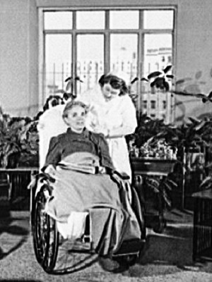 A patient in a wheelchair.