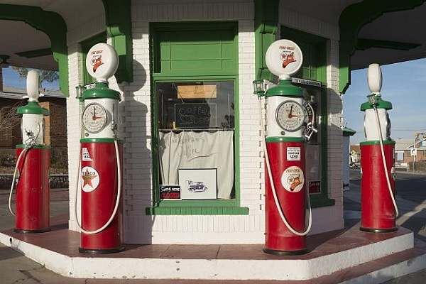 An antique petrol station in Texas