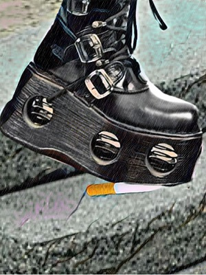 A platform boot crushing a cigarette.