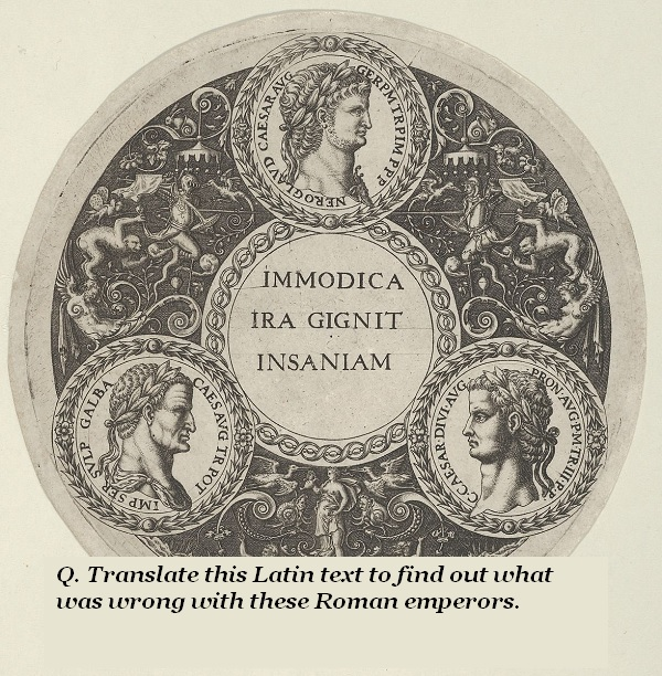 What does the Latin text 'Immodica ira gignit insaniam' mean, and how does it apply to these Roman emperors?