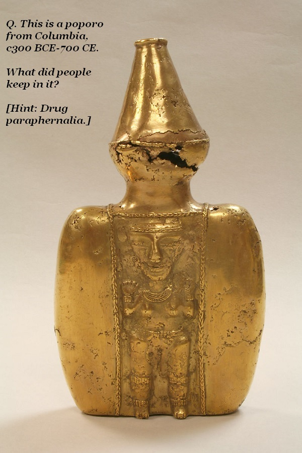 What did the ancient Columbians keep in their poporos?