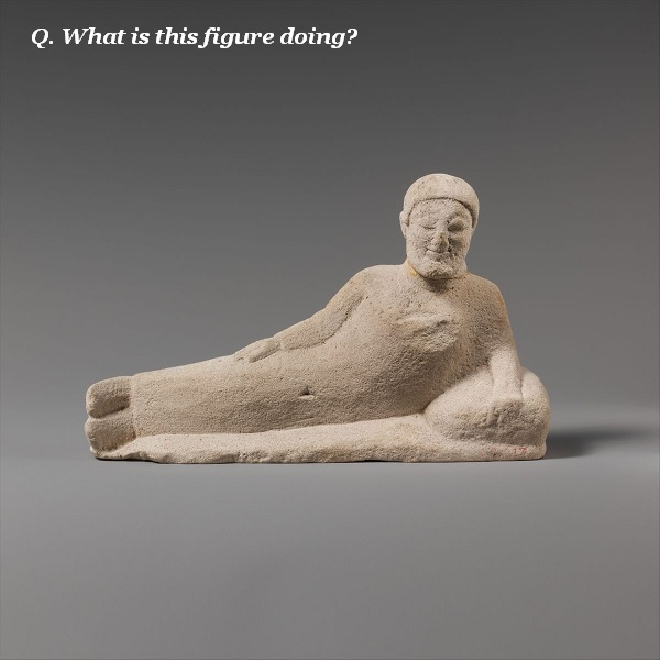 What is this reclining figure doing?