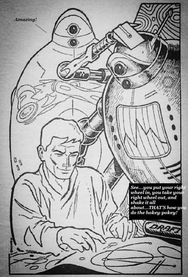 An engineer explaining the hokey pokey to robot aliens.