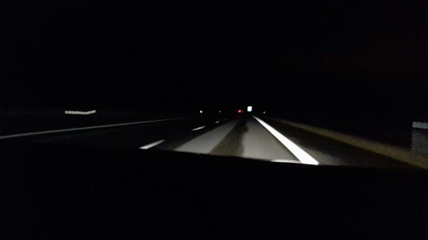 The road in front of Milla, somewhere in Sweden, at night.