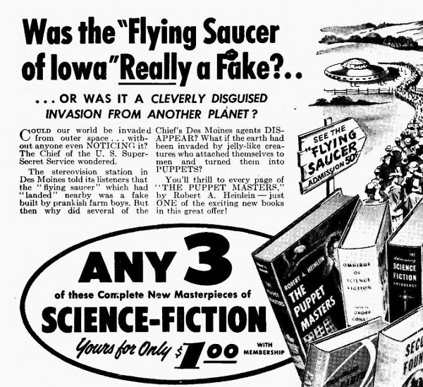 An ad for a science fiction book club from 1954.