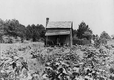 A sharecropper's cabin in Mississippi.