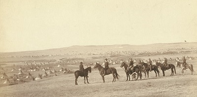 US soldiers outside the camp in South Dakota, January 1891