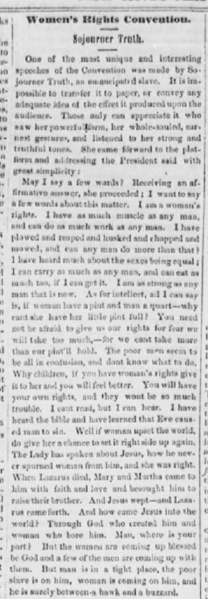 Speech by Sojourner Truth in the Antislavery Bugle, 1851