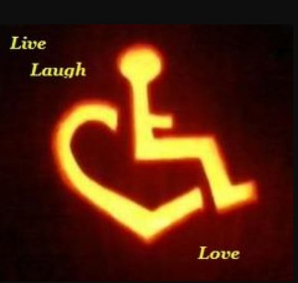 An icon with a wheelchair and the words 'Live, Laugh, Love'
