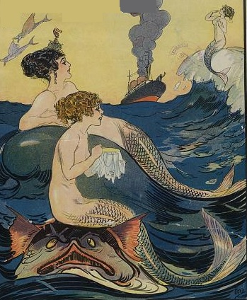 Three Little Mermaids from the Library of Congress. No, we don't know if the librarians believe in mermaids, we just got the picture from there.
