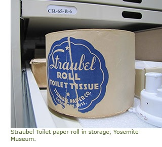 A roll of toilet paper in the Yosemite Museum, courtesy National Park Service (US)