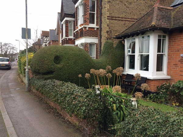 Topiary of a whale.