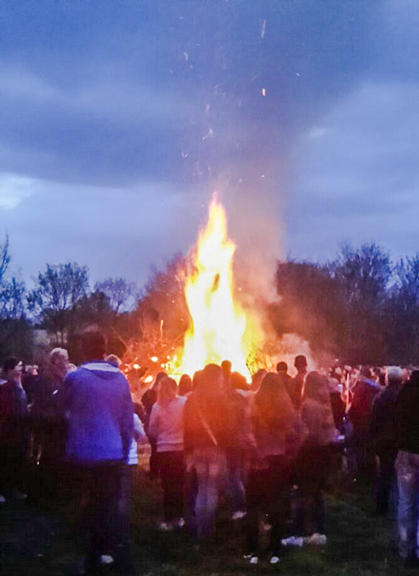 Walpurgis Night fire in Lund, Sweden.