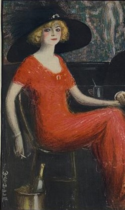 A woman in a red dress with a really large black hat.