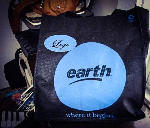 A shopping bag that says 'Earth' on it.
