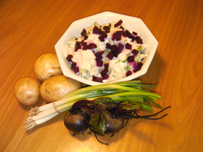 Potato and beetroot salad