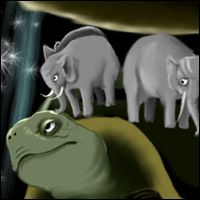 A giant tortoise supports the weight of two elephants, which in turn hold up Discworld.