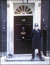 10 Downing Street, where the Prime Minister lives.
