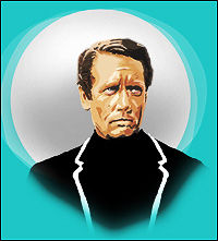 Patrick McGoohan as the Prisoner, with the Village's dreaded white security balloon - Rover - lurking in the background.